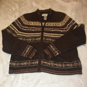 Casual Corner Brown Zip Up Sweater Size Small